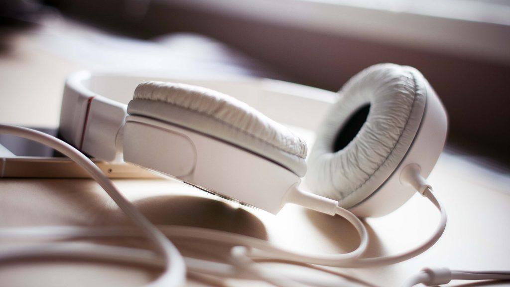white headphones widescreen wallpapers