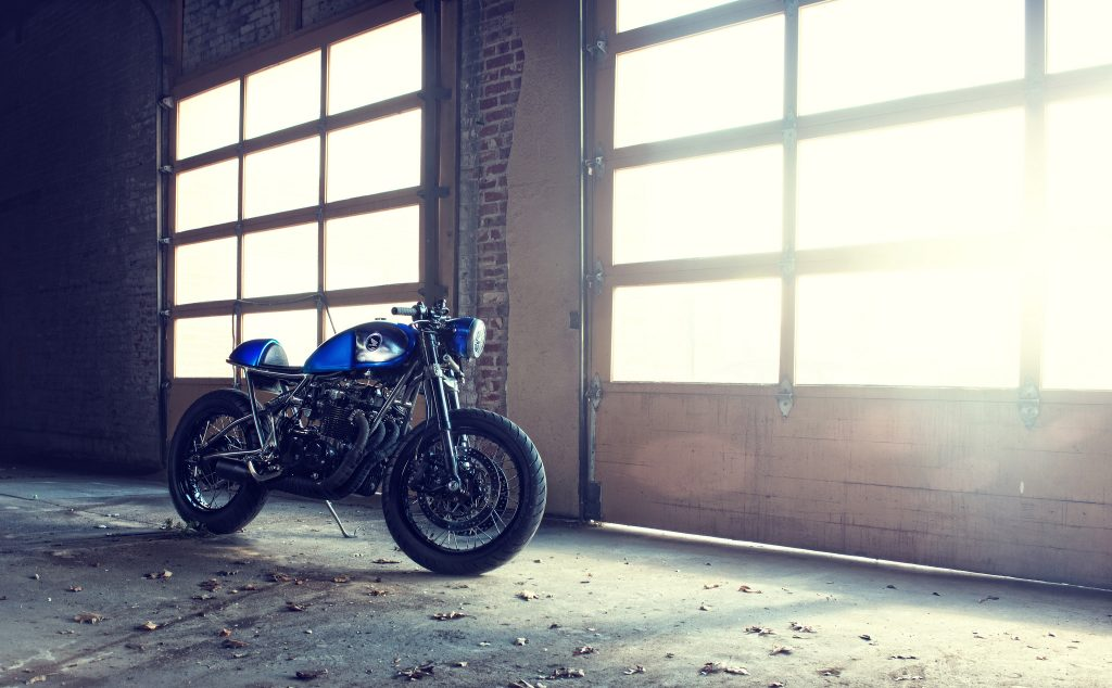 blue motorcycle garage wallpapers