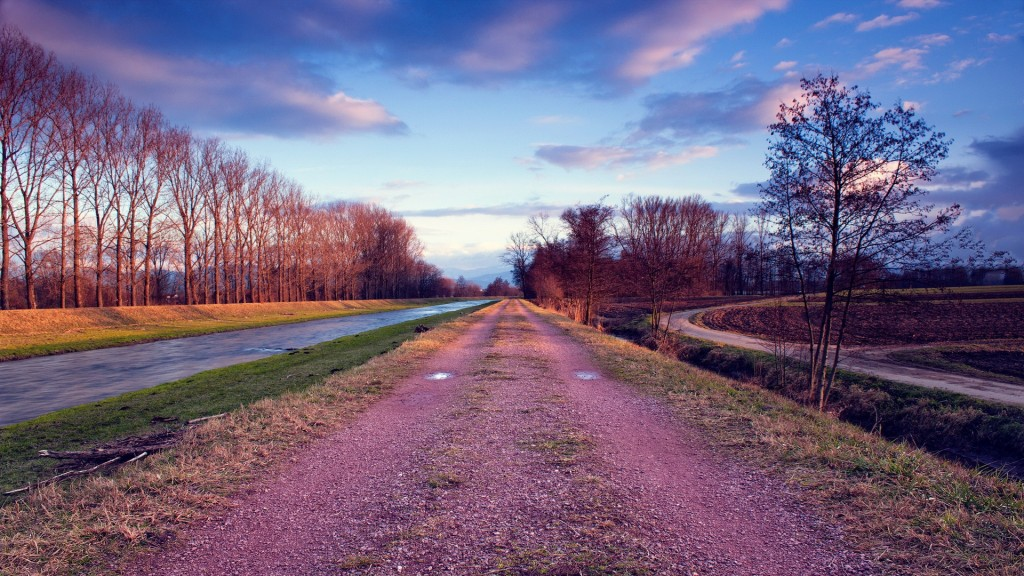 Pink Gravel Road Along A Canal HD