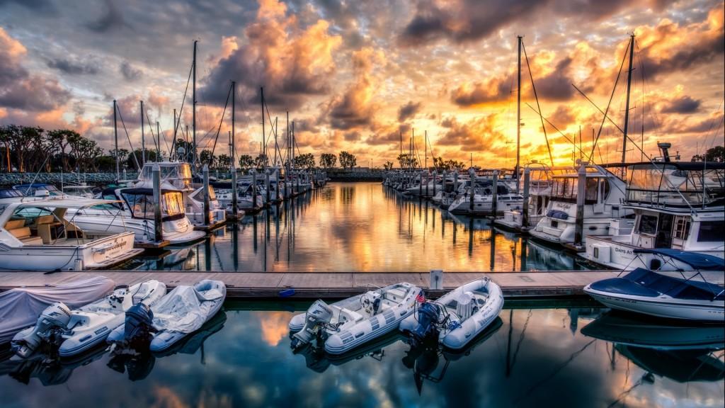 Boat Marina At Sunset Hdr HD Desktop Background