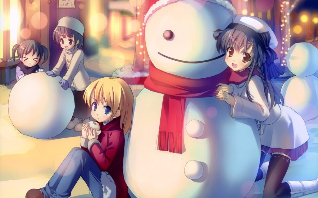 anime winter snowman wallpapers