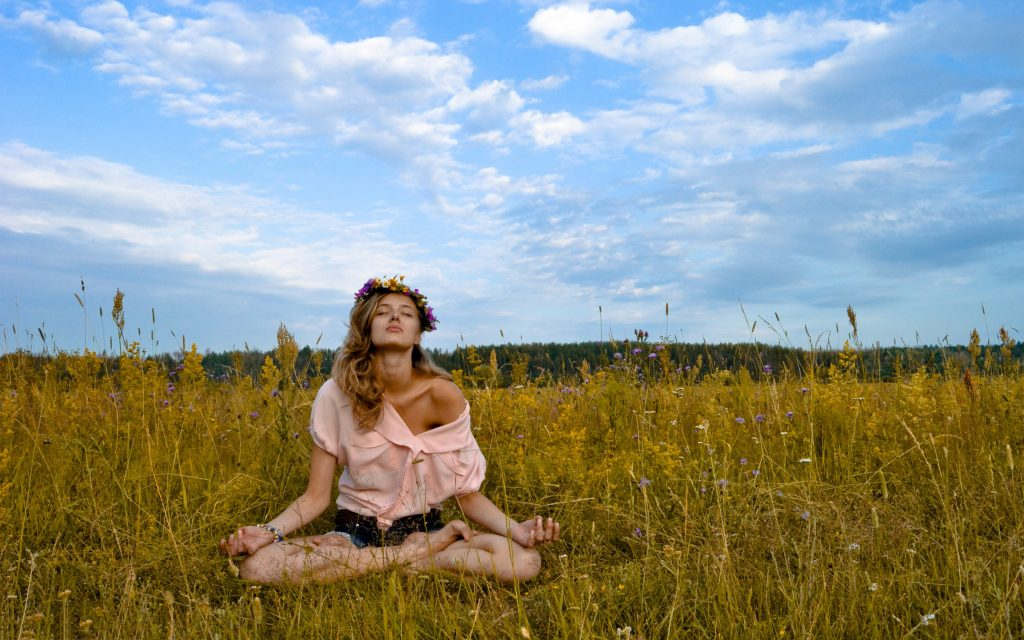 outdoor meditation girl wallpapers