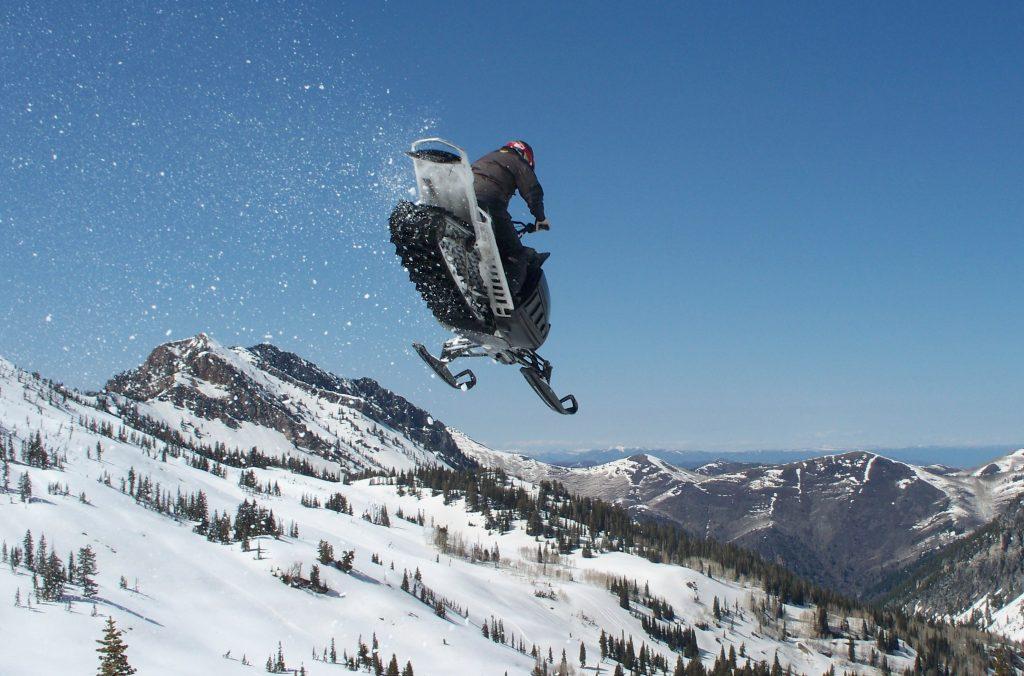 snowmobile jump widescreen wallpapers