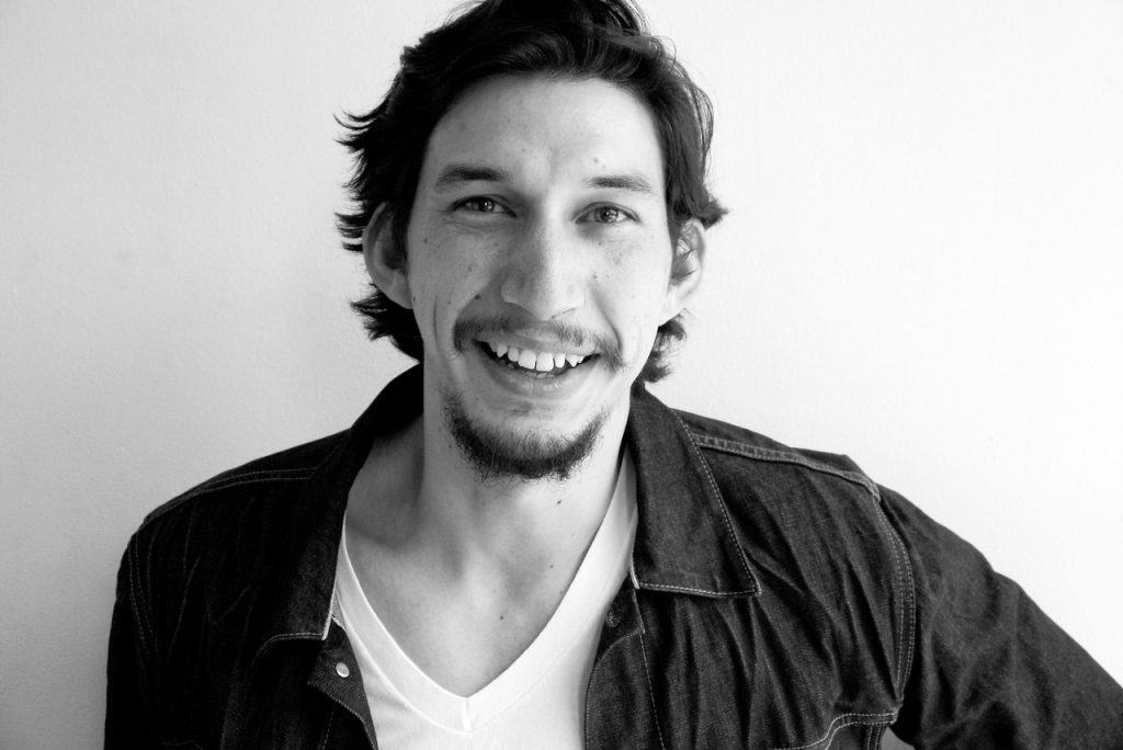 monochrome adam driver smile wallpapers