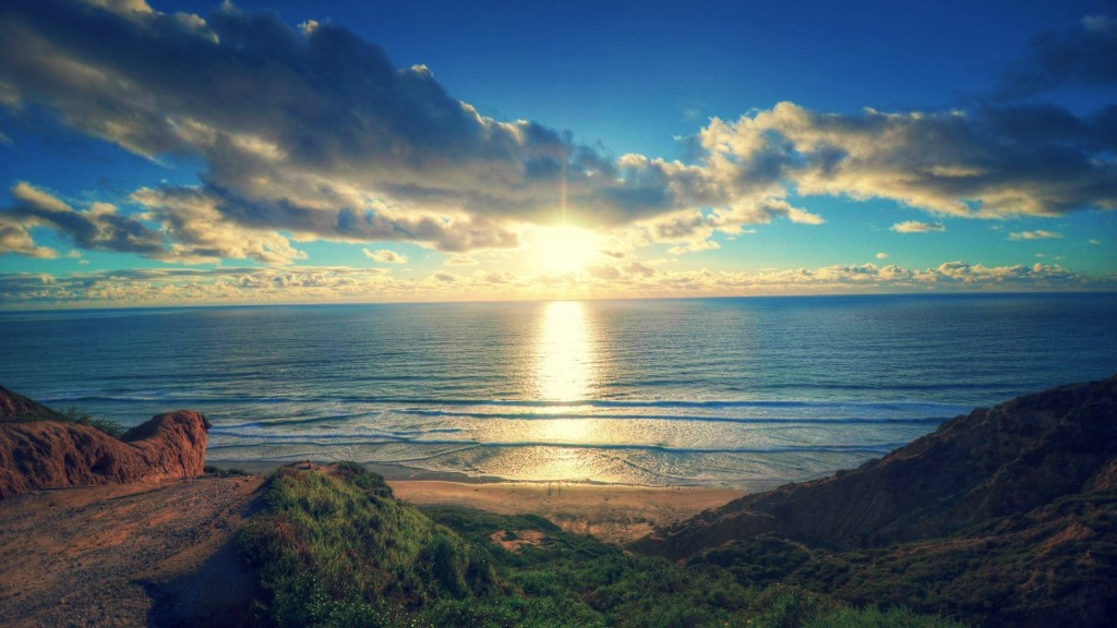 Beach At Sunrise Hdr HD Desktop Background