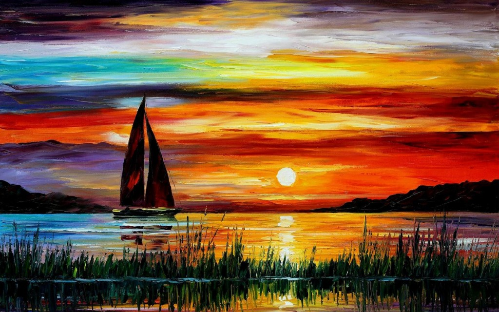 sunset boat painting wallpapers