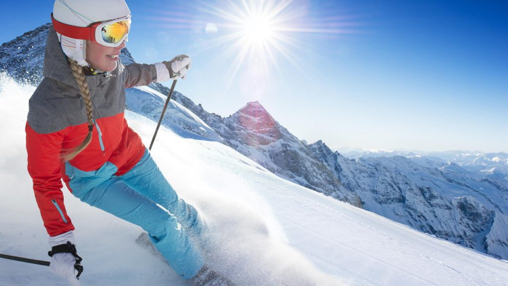 skiing girl background wallpapers