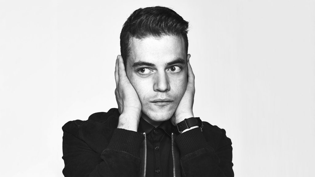 monochrome rami malek desktop wallpapers